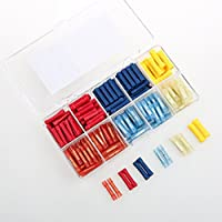 AIRIC 260pcs Wire Crimp Vinyl Nylon Insulated Butt Connectors Kit Red/Blue/Yellow 22-16/16-14/12-10 Gauge Assortment