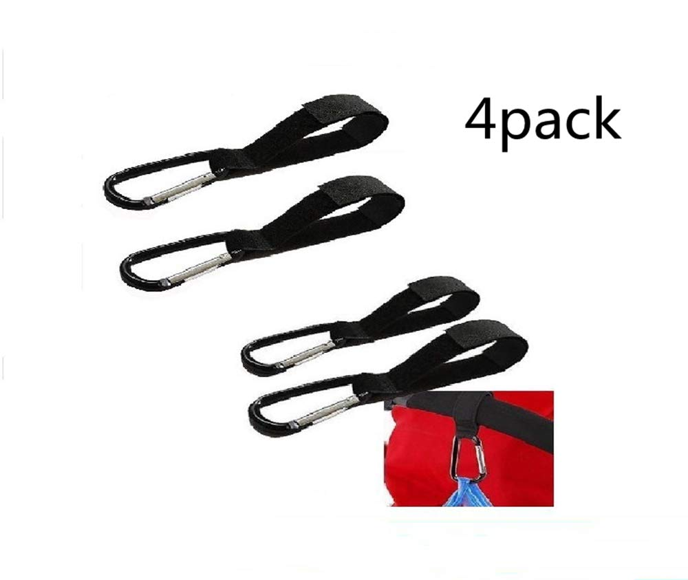 4 Stroller Hooks ,for Hanging Diaper Bag, Purse, Shopping Bags, Kids Backpack - Hook Plus Detachable Straps - Universal Fit on Strollers by zc