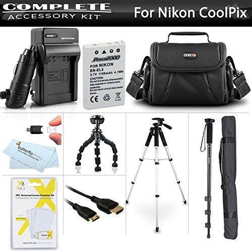 Essential Accessory Kit for Nikon COOLPIX P530 P520 P510 P500 Digital Camera Includes Extended Replacement Nikon EN-EL5 Battery + Charger + Case + Mini HDMI Cable + 57 Tripod + 67 Monopod + More