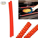 Maphissus Oven Rack Shields Silicone Edge Guards Clip Resistant Heat Protect Your Arms Against Burns Red And Black For Baking Bread Cake Pizza Food Sausage (Pack 2)