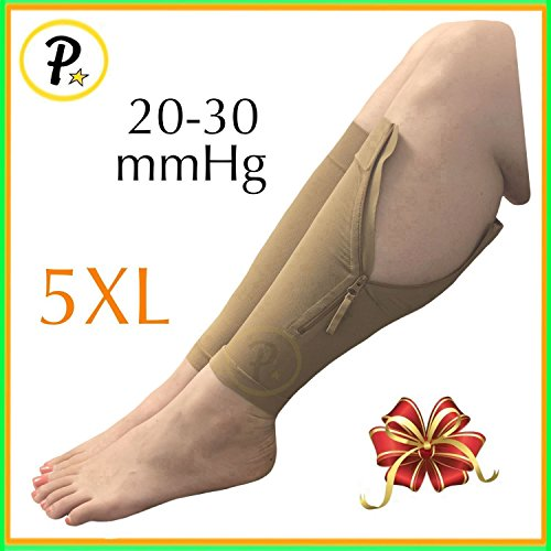 Presadee NEW BIG TALL Calf Sleeve With Zipper 20-30 mmHg Compression Extra Wide Shin Energize Leg Swelling Circulation (Beige, 5XL) by Presadee