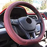 Rayauto 38cm 15inch D Type Flat Bottom motile car Steering Wheel Cover PU Leather Streamline (Wine red)