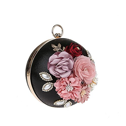 Floral Wedding Evening Bag Prom Fashion Clutch 2017 for Clutch Banquet Black Metal Flower Spherical Purses Bags Eleoption Chain Wedding with Party Handbag qBw6Ep