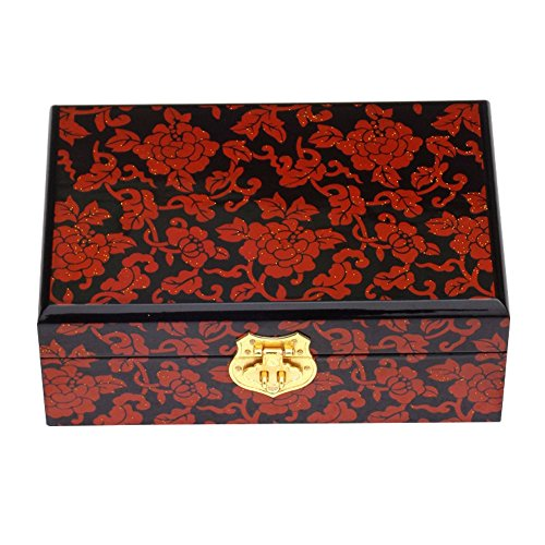 Chinese style Wooden Jewelry box Treasure Chest Case with Lock Red Flower