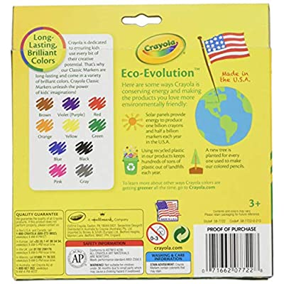 Crayola 58-7722 Classic Color Broad Line Markers 10 Count: Toys & Games