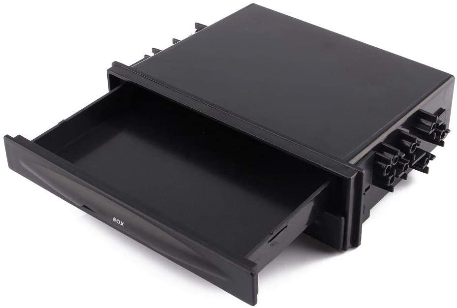 Single Din Storage Box, Universal Car Black CD Radio Drink Cup Holder Storage Box Single Din Blank Plate
