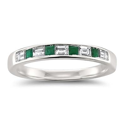 Emerald Wedding Band.14k White Gold Baguette Diamond Princess Cut Green Emerald Wedding Band Ring 1 2 Cttw Hi Si1 Si2