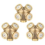 KUWAN 3 Piece 1/4'' Brass Misting Spray Nozzle 4 Holes Garden Sprinklers Irrigation Connector Fitting External Thread Water Pipe