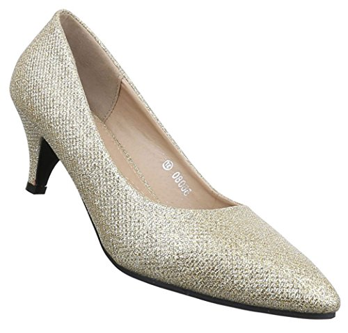 Damen Pumps Schuhe High Heels Stiletto Abendschuhe Schwarz gold rot silber 36 37 38 39 40 41 Gold