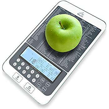 Mackie Digital Kitchen Food Scale Bonus Nutritional Portions Facts (New Colors) Auto Calorie and Macros Calculator Easy Meal Prep Fully Customizable