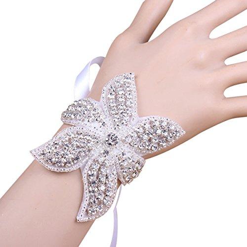 Bridal Wedding Rhinestone Wrist Corsage Adjustable Ribbon Bracelets