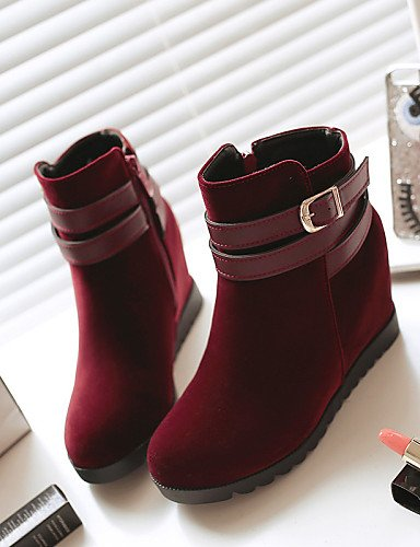 Cuña Uk6 Cn39 5 A La Black Tacón Mujer Casual us8 Uk5 Negro Xzz De 5 Vestido Zapatos Cn38 Redonda Rojo Eu38 us7 Botas Moda Vellón Punta Red Eu39 RgfnCI