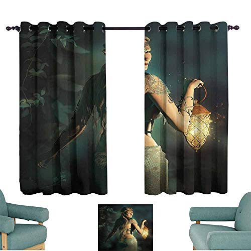 (HCCJLCKS Kids Room Curtains Fairy Elf Princes with Lantern in Mysterious Forest Ornamental Elements Enchantment Simple Style W55 xL45 Petrol Blue Beige)