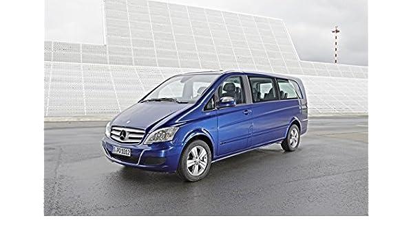 Classic y los músculos de los coches y arte de coche Mercedes-Benz Viano (2011) en 10 mil Póster del archivo de papel de satén azul frente vista lateral, papel, Blue Front Side