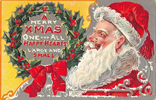 Christmas Greetings Santa Claus Holly Wreath Vintage Postcard JA4741728 (Wreaths Holly)