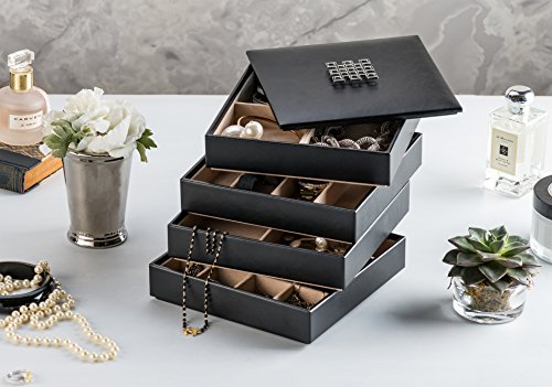 Jewelry Organizer Tray 4 Stackable Trays Amp Lid With