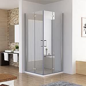 Cabina de ducha de esquina con puertas plegable, dimensiones: 90 x 90 x 195 cm, mampara de vidrio Nano: Amazon.es: Bricolaje y herramientas