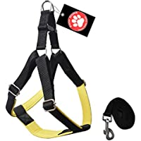 Pawzone Nylon Body Harness With Leash For Dogs -Yellow Large (1 Inch)