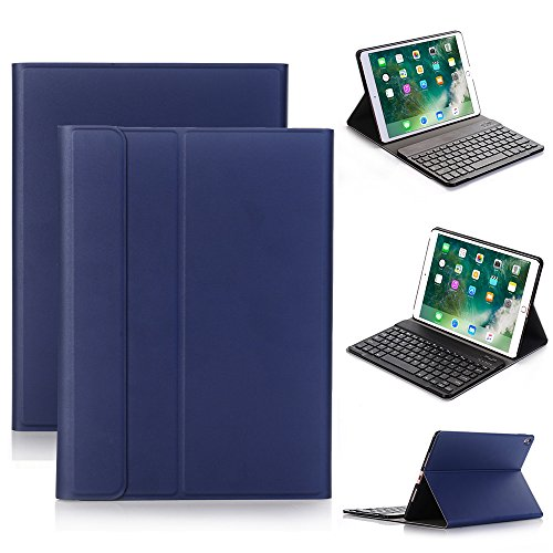2017 New iPad 9.7,iPad Pro 9.7,iPad Air 2/1 Keyboard Leather Case Cover,Genjia Stylish leather Cover with Ultra-Slim Lightweight ABS Detachable Bluetooth Wireless Keyboard for Apple iPad (Navy Blue) by Genjia