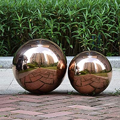BECover 12 inches Gazing Ball, Rose Golden Stainless Steel Garden Sphere, Seamless Polished Reflective Smooth Mirror Garden Globe, Colorful Addition for Photography Garden Home Decorate : Garden & Outdoor