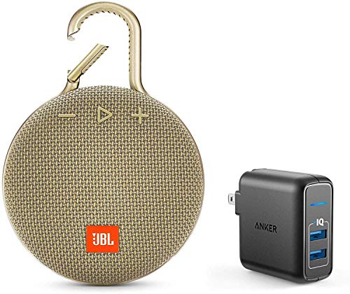 JBL Clip 3 Portable Bluetooth Wireless Speaker Bundle with Dual Port 24W USB Travel Wall Charger - Sand