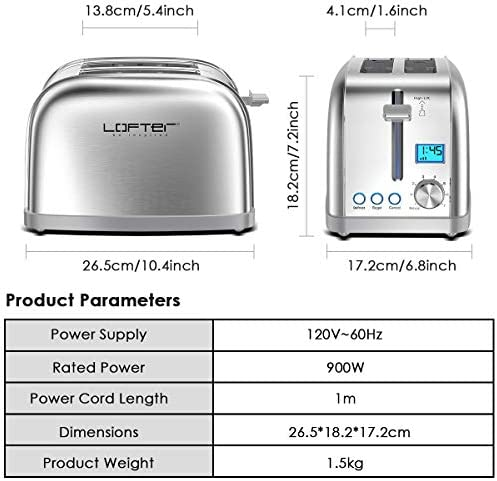 """2 Slice Toaster, LOFTer Prime Rated Bagel Toasters with LCD Display, Full Stainless Steel Body Toaster with 7 Bread Settings, Bagel/Defrost/Reheat/Cancel Function, 1.6"""" Wide Slots, Removable Crumb Tray, 900W, Silver"""