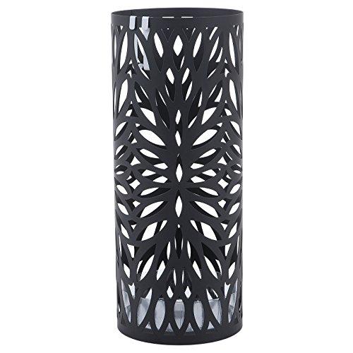 Songmics 49 cm rund metall Schirmständer mit Wasserauffangschale Haken schwarz LUC20B