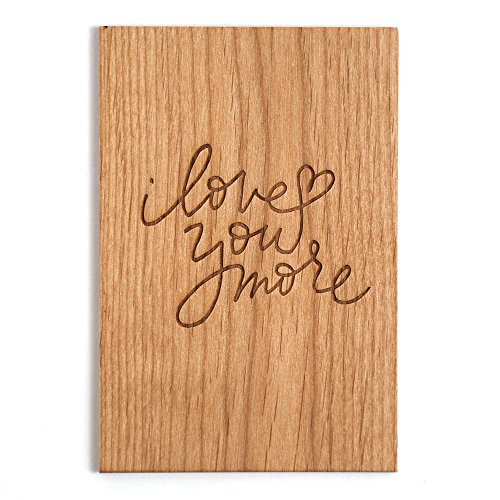 I Love You More Laser Cut Wood Card (Love / 5 Year Anniversary / Boyfriend or Girlfriend / Valentine's Day) by Cardtorial