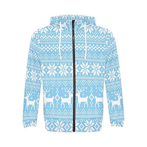 INTERESTPRINT Christmas Blue Deer Snowflake Men's Full-Zip Zipper Hoodies Sweatshirt S