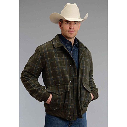 Wool Blend Olive Plaid Stetson Men146s Collection- Outerwear (xl) - Xl Collection Stetson