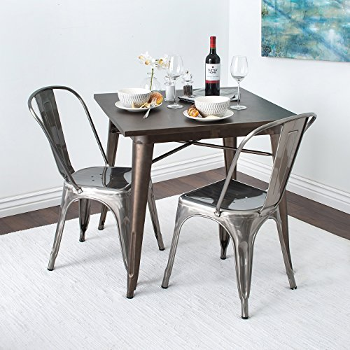Base Finish Gunmetal Metal (Belleze Dining Chair with Back, Set of (4) Bistro Antique Style Vintage Side Chairs, Gunmetal)