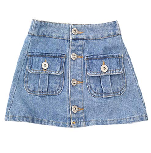 Ameyda Kids Girls Denim Skirt, Pocket Button Up A-Line Denim Skirt for Toddler Baby & Little Girls, Light Blue, 5-6 Years = Tag 130 -