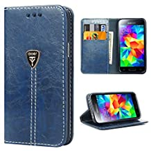 Case S5 NEO, S5 Wallet Case, Samsung Galaxy S5 Flip Case Built in Kickstand, iDoer Slim Magnetic Flip Leather Wallet Protective Case Cover for Samsung Galaxy S5 NEO - Blue