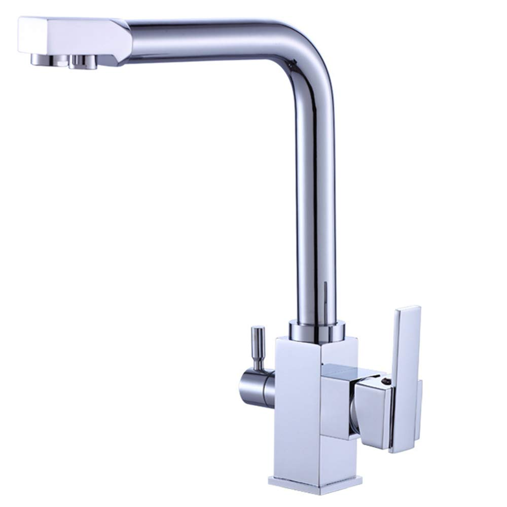 TIAOTIAO Kitchen Faucet with Spray, High Arc Swivel Spout, Chrome Plated Finish, Lead-Free Construction, Pull Out Side Spray Hose
