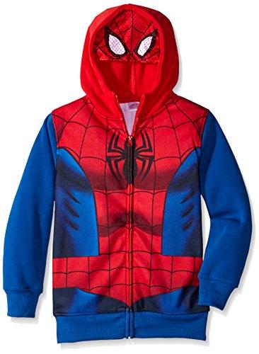 Marvel Boys' Spiderman Costume Hoodie, Red, 8