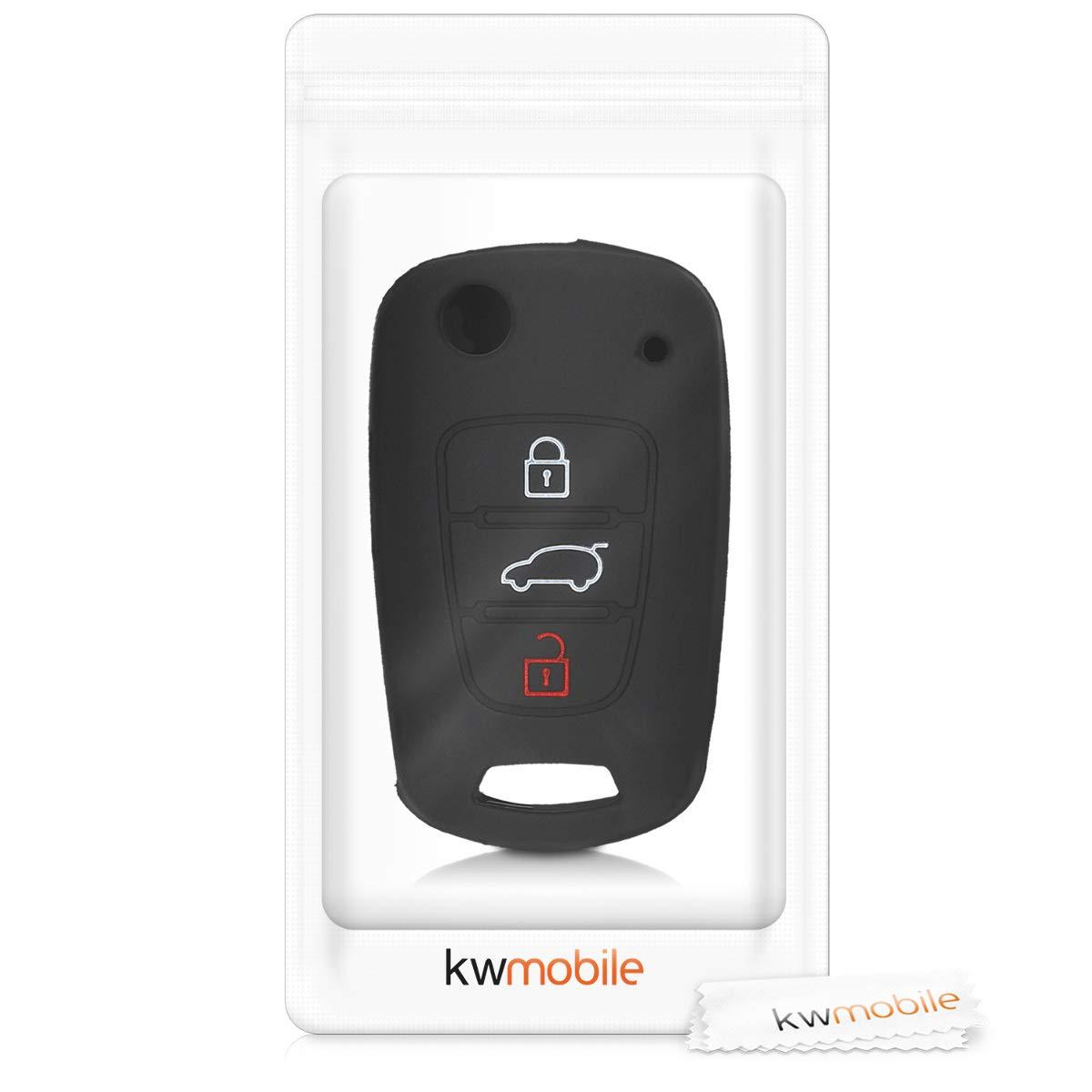 /Étui de Protection Souple Coque pour Clef de Voiture Pliable Hyundai 3-Bouton en Silicone Rouge-Noir kwmobile Accessoire cl/é de Voiture pour Hyundai