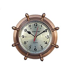 Handcrafted Model Ships Antique Brass Double Dial Porthole Wheel Clock 8 - Brass Porthole Wall Clock