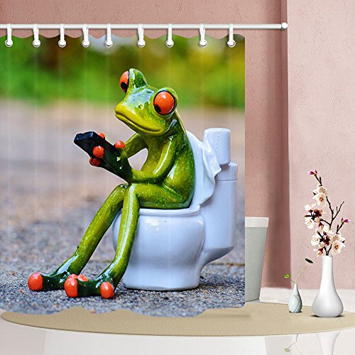 Funny Animals Shower Curtains, Porcelain Frogs Sat on Toilet Home Decor, Polyester Fabric Shower Curtain Set Fantastic Decorations Bath Curtain, 69X70inches