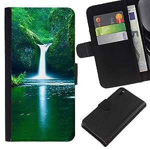 KingStore / Leather Etui en cuir / Sony Xperia Z3 D6603 / Naturaleza Falls Beautiful Waterfalls