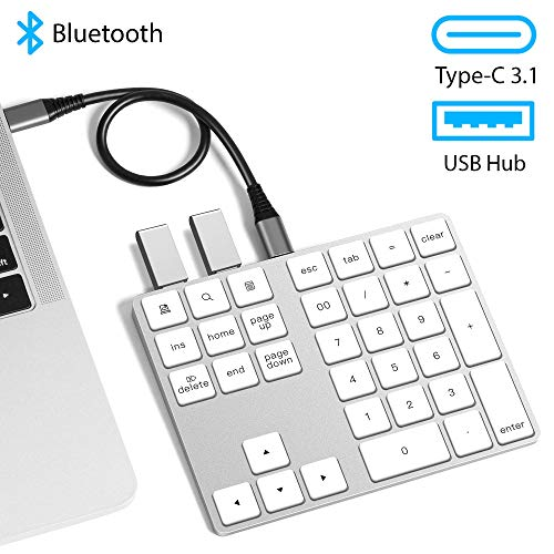 USB C Wireless Bluetooth Numeric Keypad with USB Hub VOAMOKO for MacBook MacBook Air MacBook Pro iPad Surface Windows Android - External Number Pad for Laptop & Tablets - Extended Battery Life