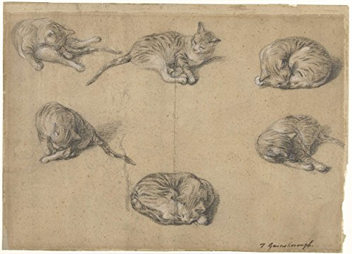 Classic Art Poster - Six studies of a cat, Thomas Gainsborough Sir, 1763-1769