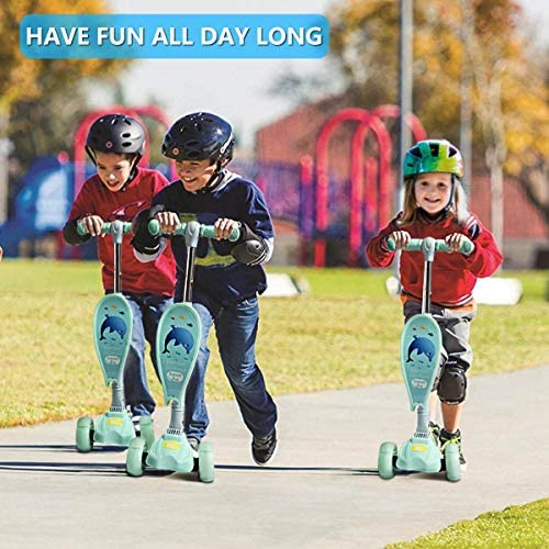 Xsport Pro Scooters for Kids 2-in-1 with Removable Seat Folding Kick Scooter Toddlers Girls or Boys Adjustable Height Extra-Wide Deck PU Flashing Wheels for Children from 2 to 10 Year-Old
