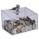 Clear-Ad - CBL-533 - Tall Acrylic Coin Tips Box 5x3x3 with Lock - Charity Fundraising Collection Container - Plastic Money Bank (Pack of 2)