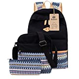 School Backpack Canvas Casual Bookbag Shoulder Bag for Teens Girls 3 in 1 Set (Black)