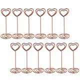 #8: Bememo 12 Pack Heart Shape Table Number Photo Holder Stands Place Card Paper Menu Clips for Weddings Party (Rose gold)