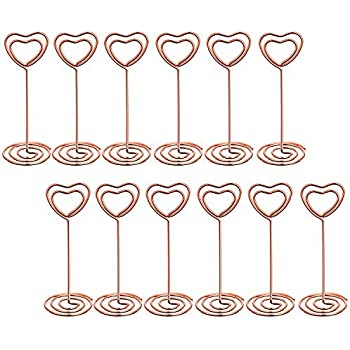 bememo 12 pack heart shape table number photo holder stands place card paper menu clips for