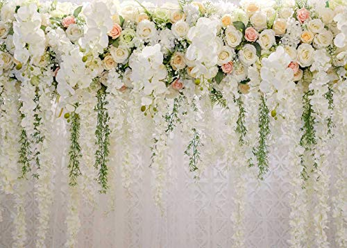 White 3D Rose Floral Photo Backdrops Bridal Shower Large Wedding Flowers Wall Background for Photography Dessert Table Decoration Blush Vinyl Backdrops Studio Props 7x5FT]()