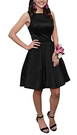 Sisidress Women Short Homecoming Dresses A line Prom Gowns Open Back with Pockets Black Size 2