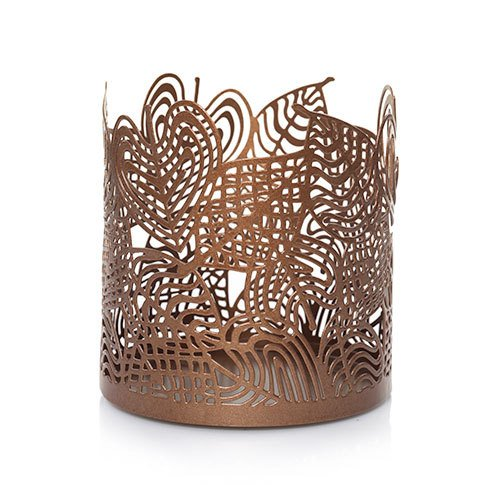 Linear Leaves (Yankee Candle Large Copper Accents LINEAR LEAVES Jar Candle Holder)