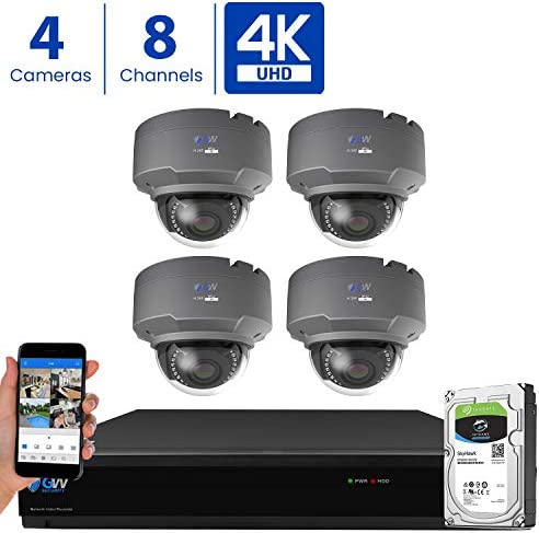GW 8 Channel 4K H.265 CCTV DVR Security Camera System with 4 x UHD 8MP 2.8-12mm Varifocal Zoom 4K Dome Surveillance Cameras and 2TB HDD, Free Remote View, Motion Alert with Snapshot
